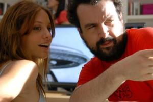 Nacho Vigalondo y Michelle Jenner en el rodaje de Extraterrestre