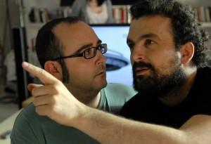 Carlos Areces y Nacho Vigalondo en el rodaje de Extraterrestre