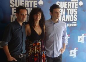 Jorge Drexler, Mariela Besuievski, y Daniel Burman en la presentación de La suerte en tus manos