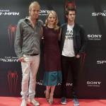 Rhys Ifans, Emma Stone y Andrew Gardfield en la presentación de The amazing Spiderman