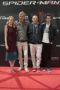 Emma Stone, Rhys Ifans, Marc Webb, y Andrew Gardfield en la presentación de The amazing Spiderman