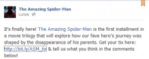 Captura de la pagina oficial de The amazing spiderman en Facebook