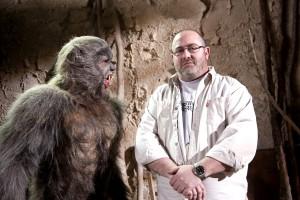 Juan Martínez Moreno en el rodaje de Lobos de Arga