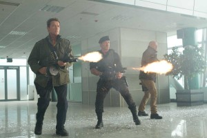 Arnold Schwarzenegger, Sylvester Stallone y Bruce Willis en Los mercenarios 2
