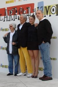 Chus Lampreave, Jean Rochefort, Aida Folch, y Fernando Trueba en la presentación de El artista y la modelo (5)