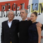 Jean Rochefort, Aida Folch, y Fernando Trueba en la presentación de El artista y la modelo (3)