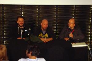 Stacy Perskie, Adrian Grunberg y Santiago Segura en la presentación de Vacaciones en el infierno