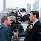 Rian Johnson y Joseph Gordon-Levitt en el rodaje de Looper