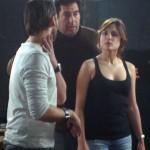 Alberto Ammann, Daniel Calparsoro y Adriana Ugarte en el rodaje de Combustión (2)