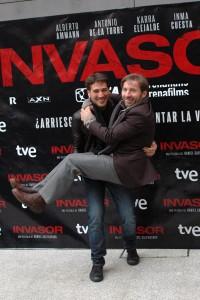 Alberto Ammann y Antonio de la Torre en la presentación de Invasor