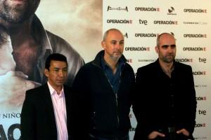 José Crisanto, Miguel Courtois, y Luis Tosar en la presentación de Operación E