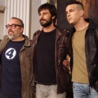 Jaime Ordóñez, Alex de la Iglesia, Hugo Silva, y Mario Casas en el rodaje de Las brujas de Zugarramurdi