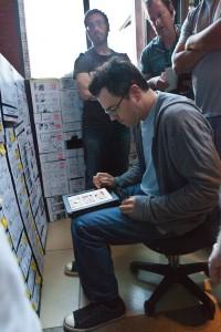 Seth MacFarlane en el rodaje de Ted