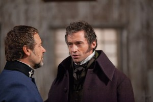 Russell Crowe y Hugh Jackman en Los Miserables