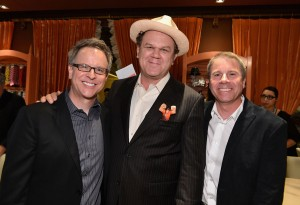Rich Moore, John C. Reilly y Clark Spencer en la presentación de ¡Rompe Ralph! en Hollywood