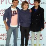 Ignacio Mateos, Eszter Tompa, y Jordi Vilches en la presentación de La banda Picasso