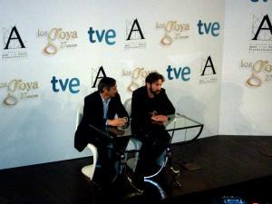 José Antonio Félez y Antonio de la Torre en la rueda de prensa de Los finalistas de la 27 edición de los premios Goya