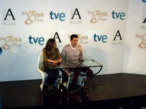 María León y Paco León en la rueda de prensa de Los finalistas de la 27 edición de los premios Goya