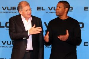 Robert Zemeckis y Denzel Washington en la presentación de El vuelo (Flight)