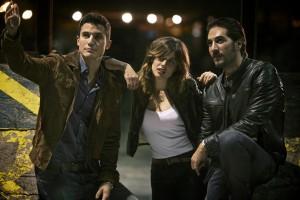 Álex González,Adriana Ugarte,y Alberto Ammann en Combustión