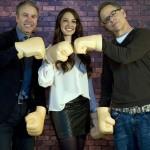 Clark Spencer, Lorelay Bové, y Rich Moore en la presentación de ¡Rompe Ralph! (2)