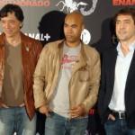 Carlos Bardem, Santiago Zannou y Javier Bardem en la presentación de Alacrán Enamorado