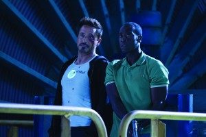 Robert Downey Jr. y Don Cheadle en Iron Man 3
