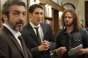 Ricardo Darín, Alberto Ammann y Hernán Goldfrid en el rodaje de Tesis sobre un homicidio