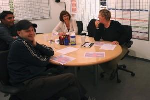 Dan Scanlon y Kori Rae en el rodaje de Monstruos University