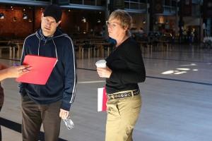 Dan Scanlon y Kori Rae en el rodaje de Monstruos University (2)