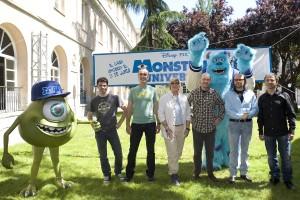 José Ramos,Juan Carlos Navarro, Kori Rae, Dan Scanlon, Santiago Segura, y José Mota en la presentación de Monstruos University