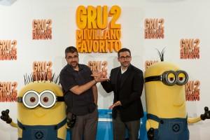 Florentino Fernández y Steve Carell en la prestación de Gru - Mi villano favorito 2