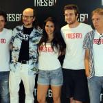 Adam Jezierski, Santiago Segura, Sara Sálamo, Raúl Mérida, y Alejandro Ezcurdia en la presentación de Tres 60