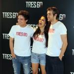 Adam Jezierski, Sara Sálamo, y Raúl Mérida en la presentación de Tres 60