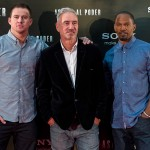 Channing Tatum, Roland Emmerich, y Jamie Foxx en la presentación de Asalto al poder