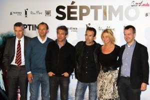 Ghislain Barrois, Jordi Gasull, Ricardo Darín, Patxi Amezcua, Belén Rueda, y Edmon Roch en la presentación de Séptimo