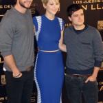 Liam Hemsworth, Jennifer Lawrence, y Josh Hutcherson en la presentación de Los juegos del hambre: En llamas