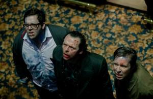 Nick Frost, Simon Pegg, y Paddy Considine en Bienvenidos al fin del mundo