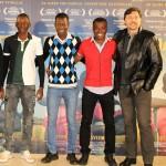 Carlo D´Ursi, Miguel Alcantud, Setigui Diallo, Hamidou Samaké, Alassane Diakite, y Carlos Bardem en la presentación de Diamantes negros