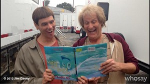 Jim Carrey y Jeff Daniels en el rodaje de Dumb and dumber to