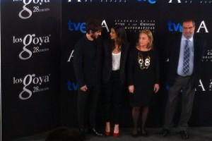 Quim Gutiérrez, Clara Lago, Enrique Gonzalez Macho, y Eva Sanz en la lectura de Los finalistas de la 28 edición de los premios Goya (3)