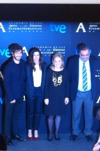 Quim Gutiérrez, Clara Lago, Enrique Gonzalez Macho, y Eva Sanz en la lectura de Los finalistas de la 28 edición de los premios Goya (2)