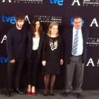 Quim Gutiérrez, Clara Lago, Enrique Gonzalez Macho, y Eva Sanz en la lectura de Los finalistas de la 28 edición de los premios Goya