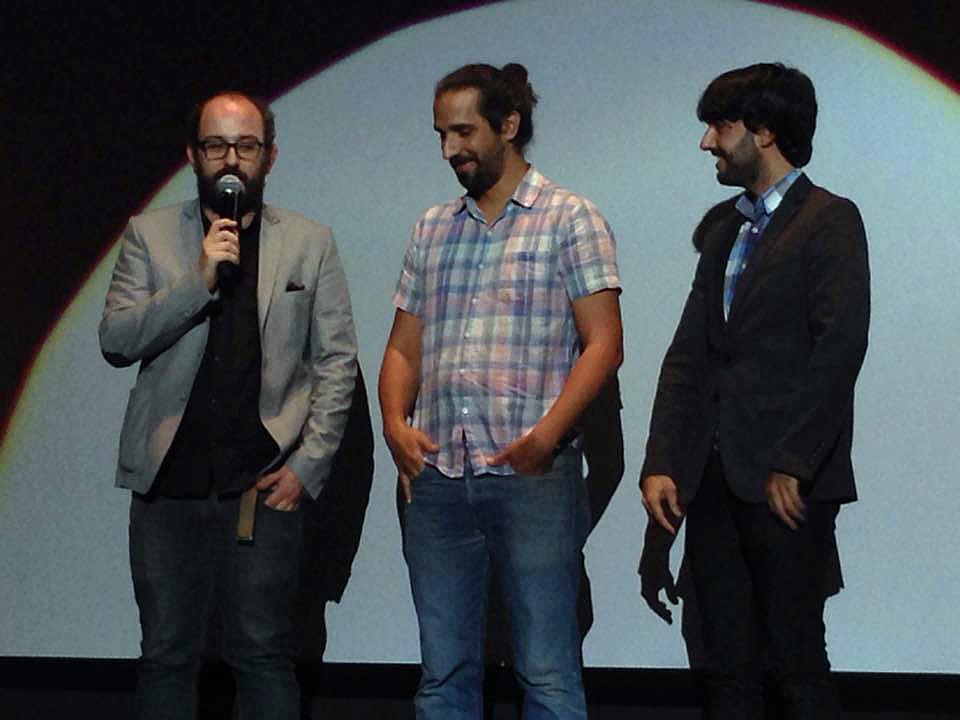 Borja Cobeaga,  Javier Ruiz Caldera, y Diego San José en la presentación de Zeta Cinema en Sitges