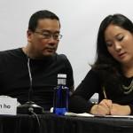 Bong Joon-ho y la traductora en la VII muestra de cine coreano