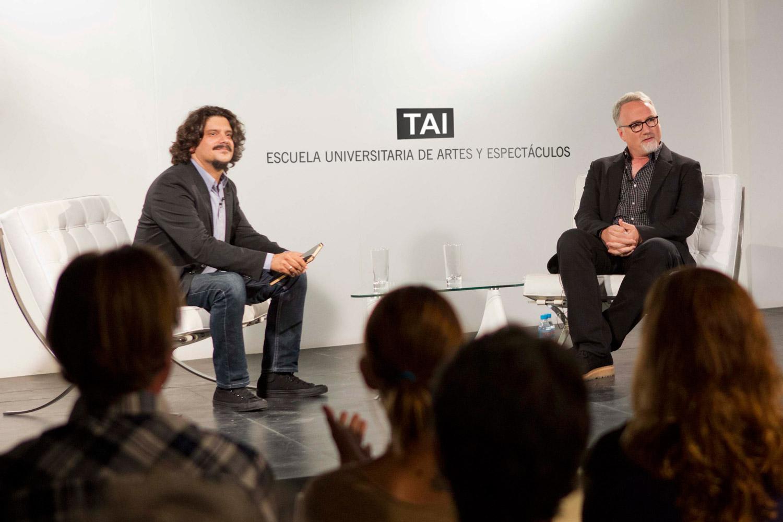 Carlos Reviriego y David Fincher en la masterclass
