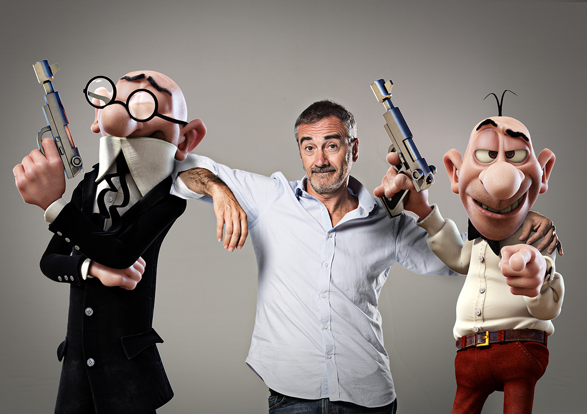 Javier Fesser con Mortadelo y Filemón