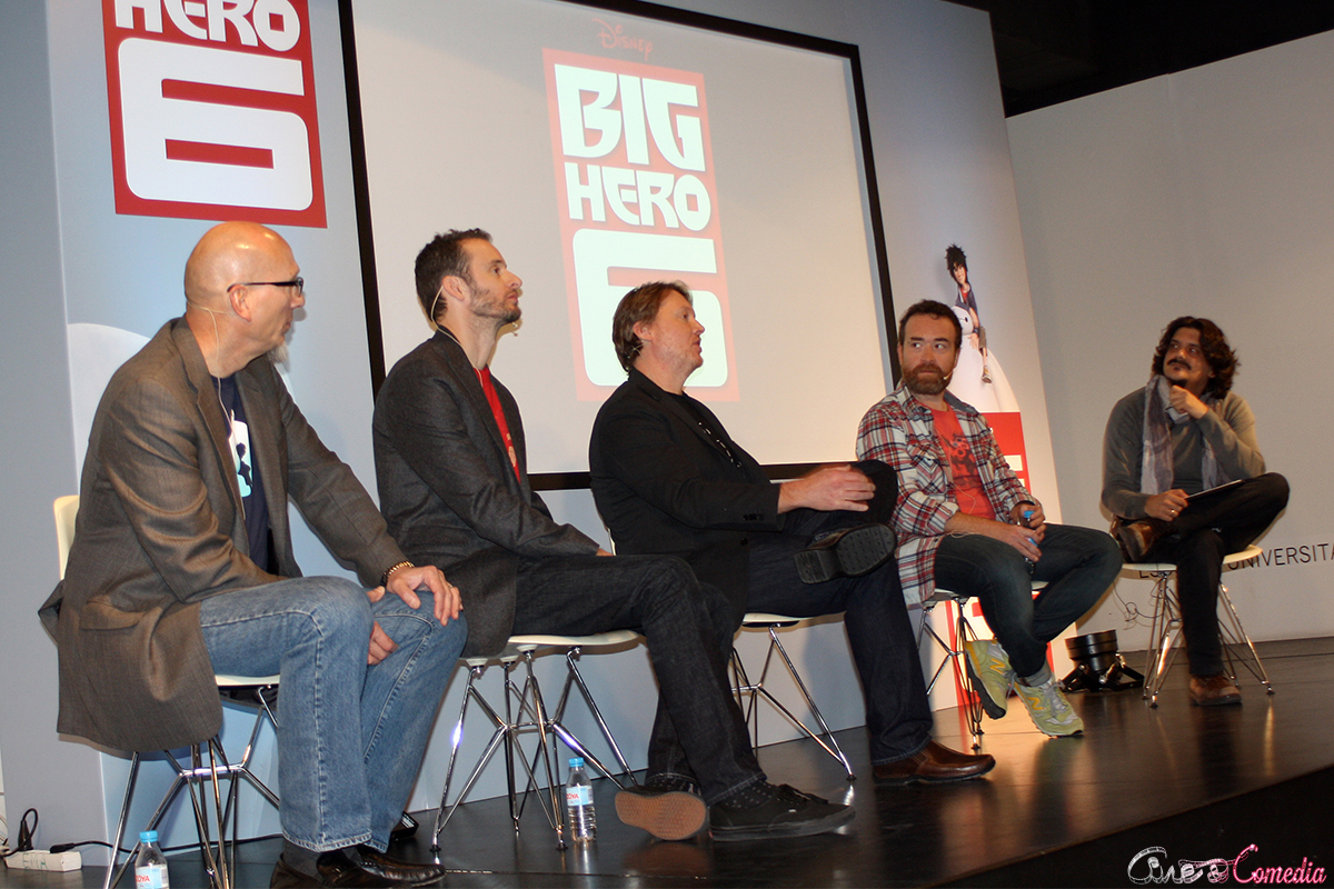 Roy Conli, Chris Williams, Don Hall, Valentín Amador y Carlos Reviriego en la masterclass de Big Hero 6