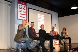 Roy Conli, Chris Williams, Roy Conli, Chris Williams, Don Hall, Valentín Amador y Carlos Reviriego en la masterclass de Big Hero 6 (2)