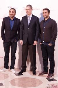 Eric Toledano, Jérome Bonnafont, y Olivier Nakache en la presentación de Samba